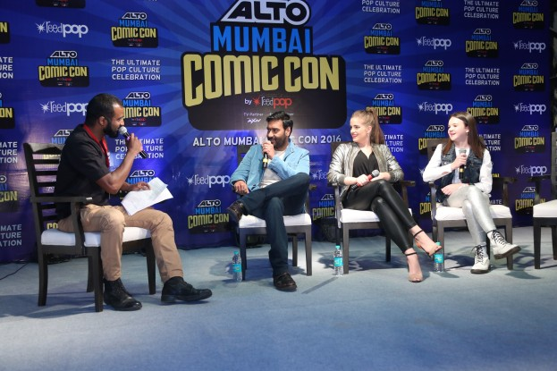 Ajay Devgn with the cast of 'Shivaay' at the Comic Con 2016